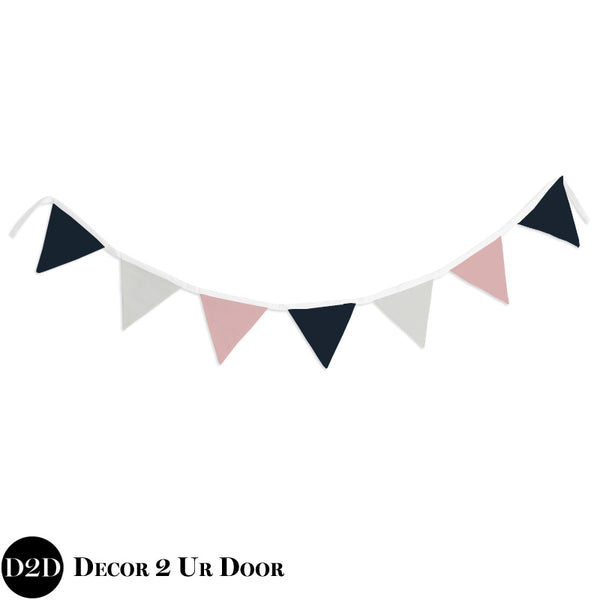 Ivory, Navy & Pink Wall Fabric Pennant Banner