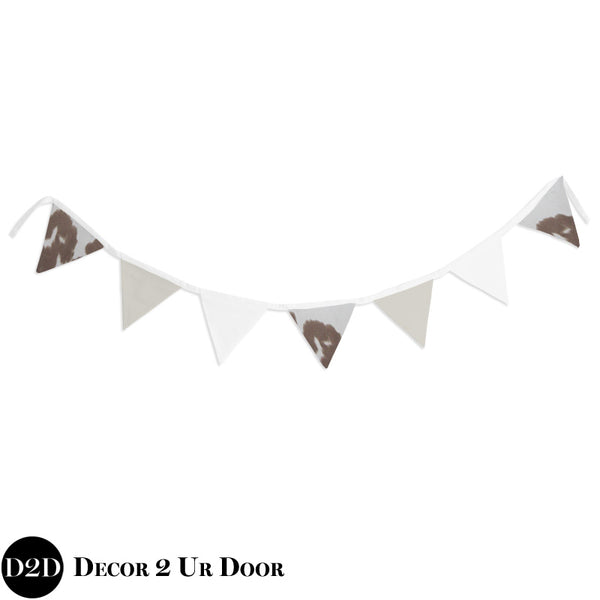 Tan Cowhide Wall Fabric Pennant Banner