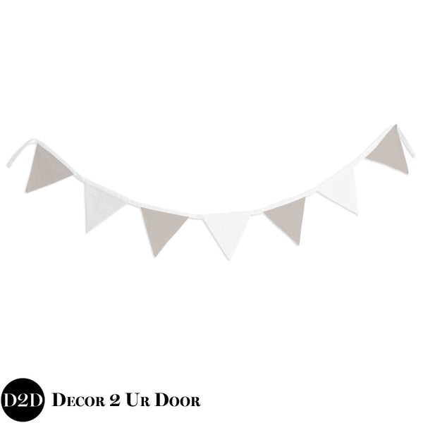 Tan & White Wall Fabric Pennant Banner