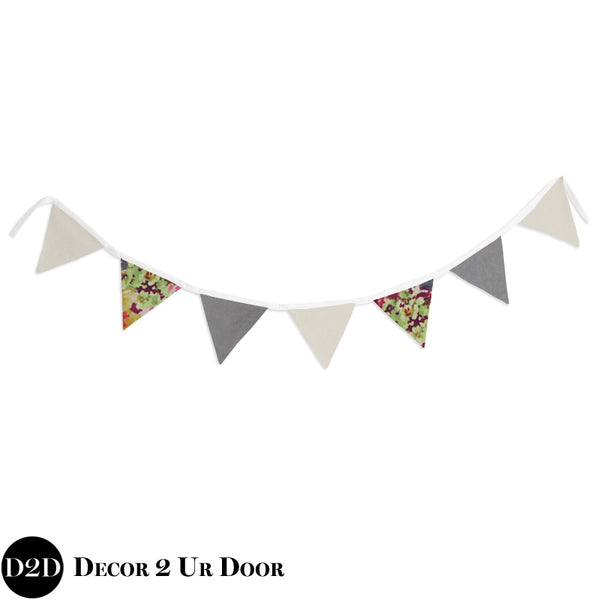 Grey Velvet & Multicolor Floral Wall Fabric Pennant Banner