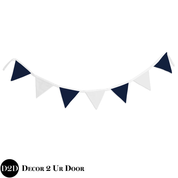 Navy & White Wall Fabric Pennant Banner