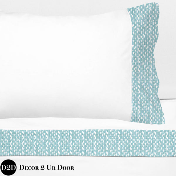 Blue Beach Dots 100% Cotton Banded Sheet Set