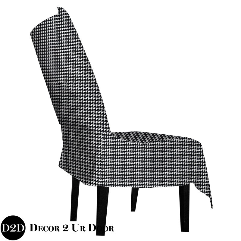 Black & White Houndstooth Dorm Chair Cover with Storage Pocket