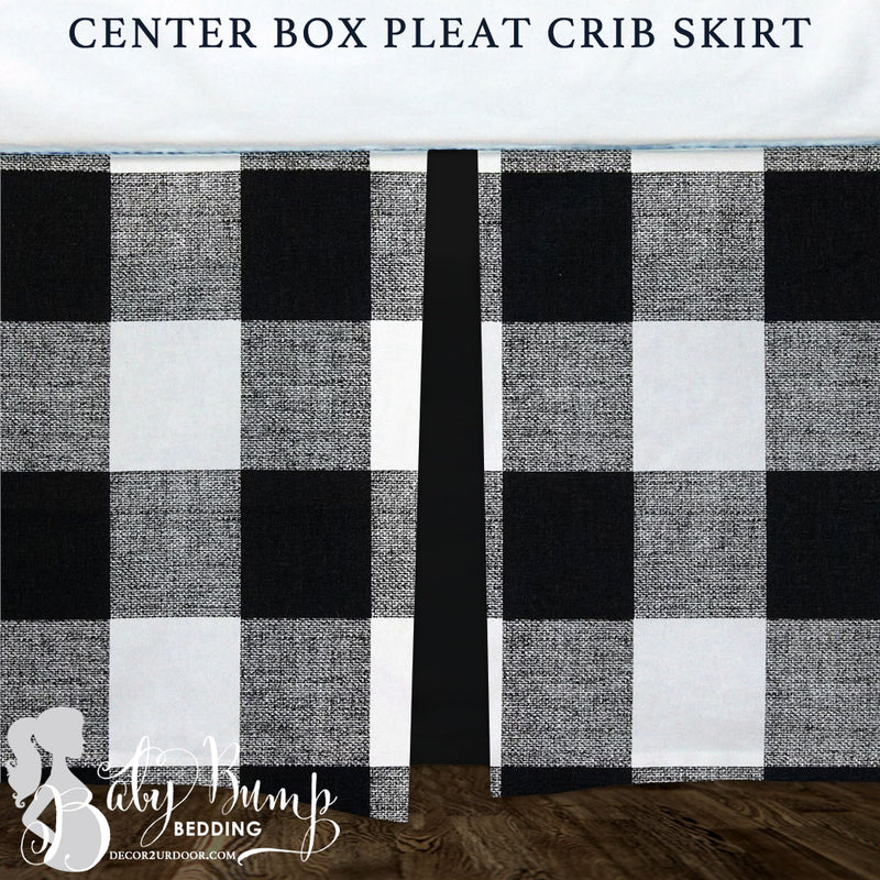 Black & White Gingham Plaid Baby Crib Skirt