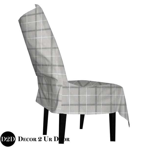 Grey Plaid Dorm Chair Cover with Storage Pocket