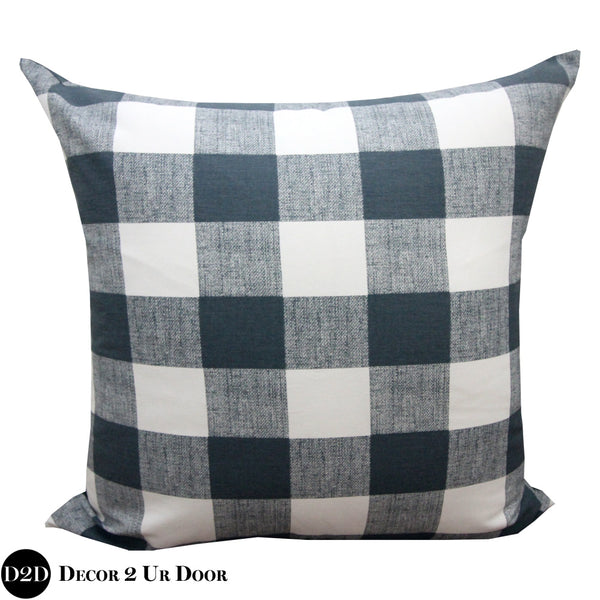 Gunmetal Gingham Plaid Euro Pillow Cover