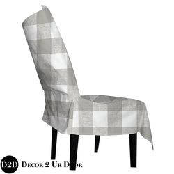 Tan Gingham Plaid Dorm Chair Cover with Storage Pocket
