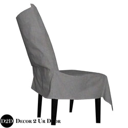 Solid Grey Velvet Fabric Dorm Chair Cover with Storage Pocket