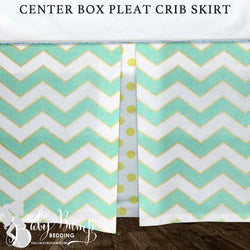Mint & Metallic Gold Baby Crib Skirt