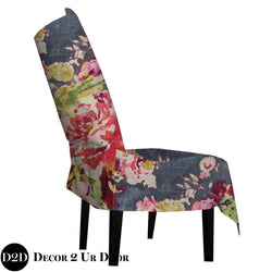 Grey Velvet & Multicolor Floral Fabric Dorm Chair Cover with Storage Pocket