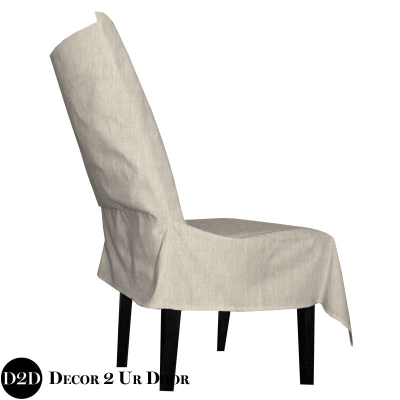 Solid Tan Fabric Dorm Chair Cover with Storage Pocket