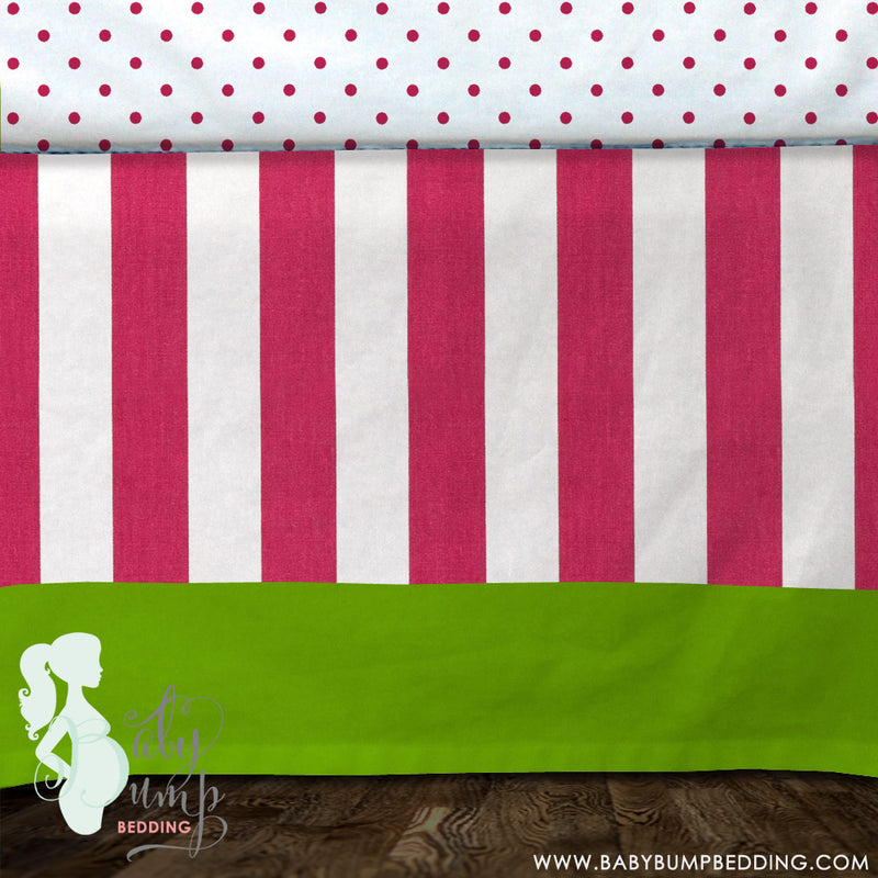 Hot Pink Stripes & Lime Green Baby Crib Skirt