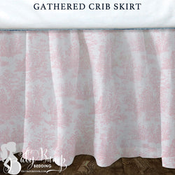 Shabby Chic Pink Toile Baby Crib Skirt