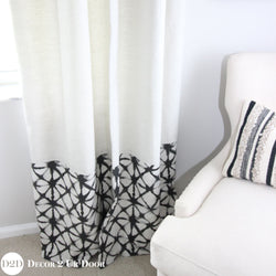 Ivory & Black Shibori Closet + Window Curtain