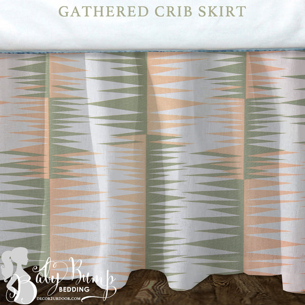 Peach and Green Baby Crib Skirt