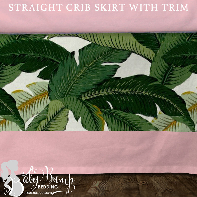 Palm Leaf Print & Blush Pink Baby Crib Skirt