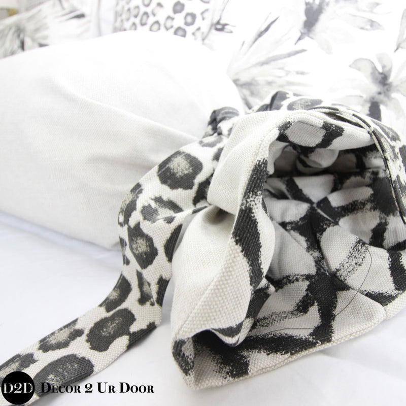 Solid Laken, Black Shibori & Cheetah Print Roll Pillow Cover