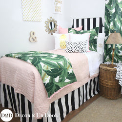 Palm Leaf Print, Black, White & Blush Pink Designer Bedding Collection