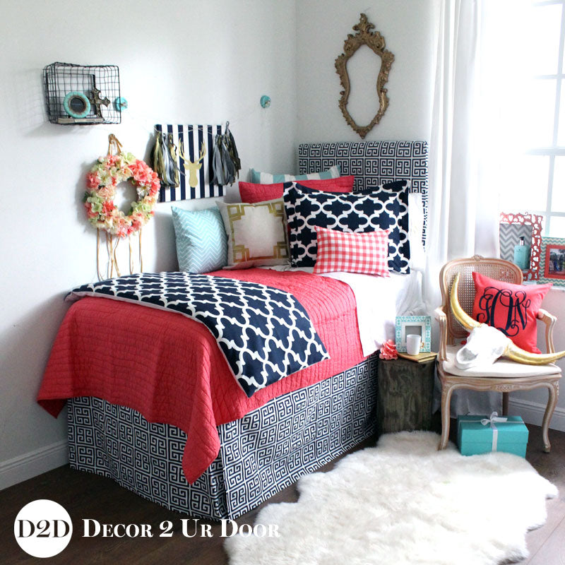 Coral Quilt, Navy & Canal Blue Designer Bedding Collection