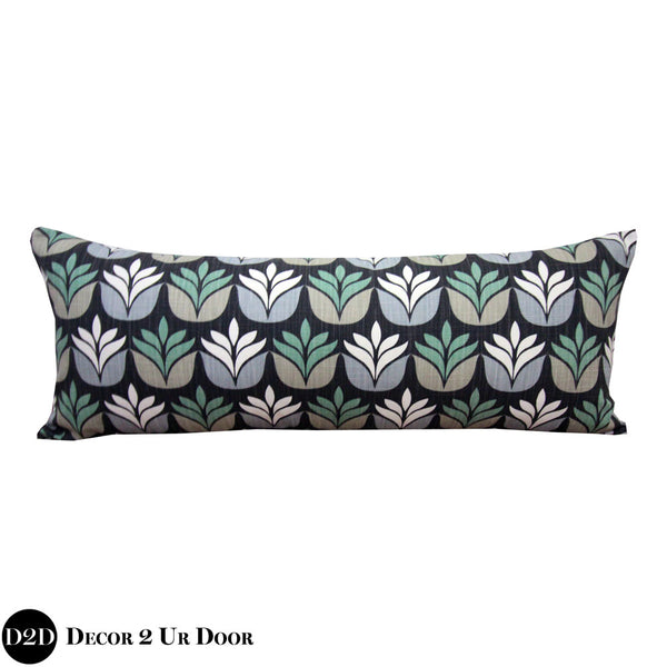 Black Succulent Print Long Lumbar Pillow Cover