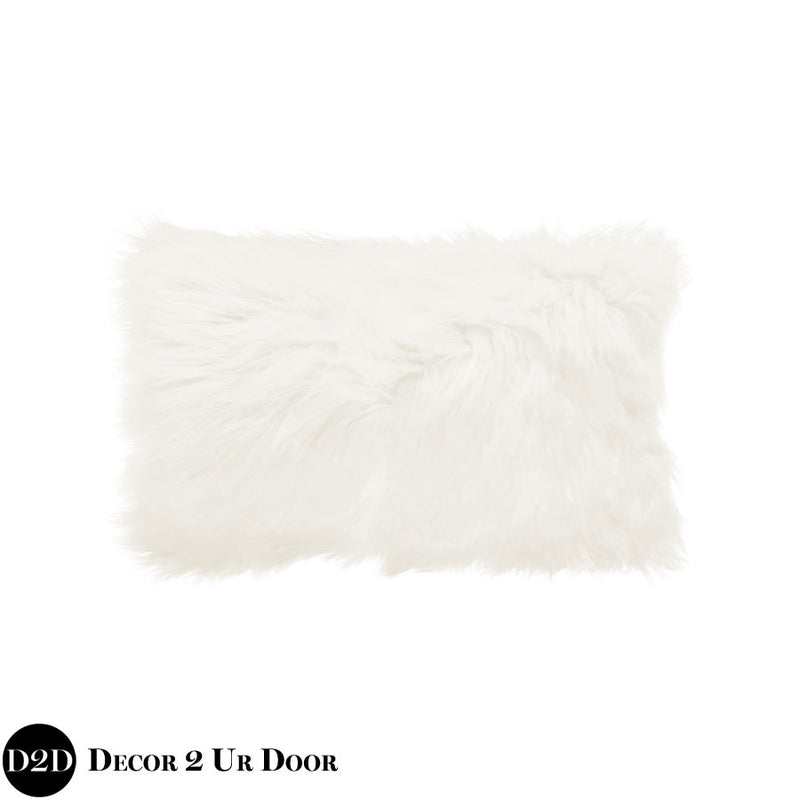 White Faux Fur Lumbar Pillow Cover