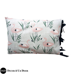 Blush Pink & Grey Flamingo Sham with Ribbon Ties