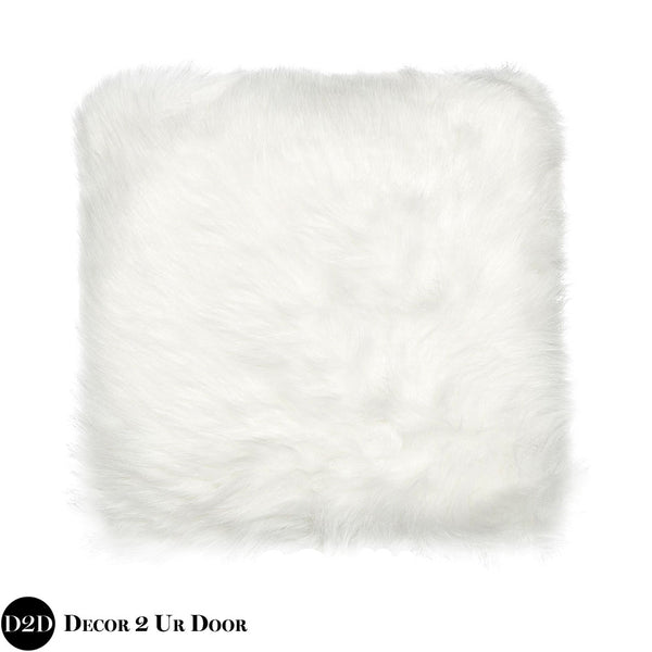 White Faux Fur Square Pillow Cover