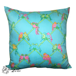 Lilly Blue Multicolor Preppy Parrot Square Pillow Cover