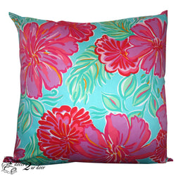 Lilly Blue and Pink Preppy Poppy Square Pillow Cover