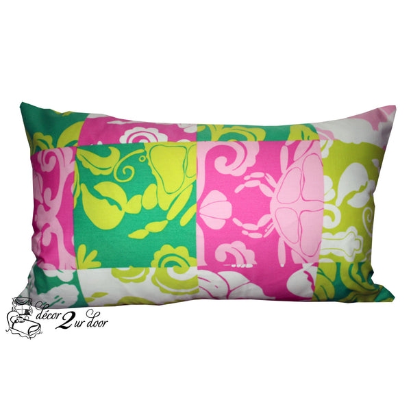 Lilly Lime Green and Pink Shell Lumbar Pillow Cover