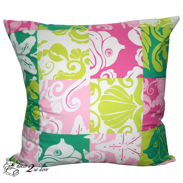 Lilly Lime Green and Pink Shell Square Pillow Cover