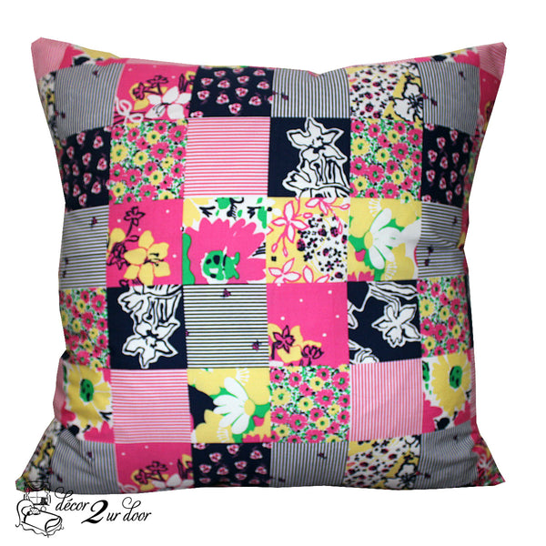 Lilly Navy, Pink & Yellow Patchwork Square Pillow Cover