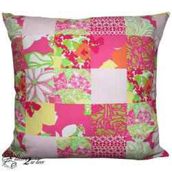 Lilly Patchwork Floral Square Pillow Cover