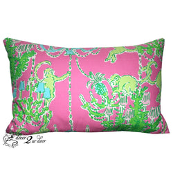 Lilly Pink, Blue & Green Monkey Lumbar Pillow Cover