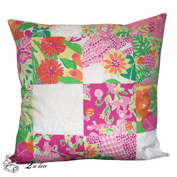 Lilly Patchwork Monkey Square Pillow Cover