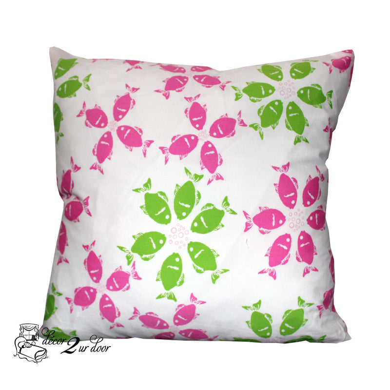 Lilly Pink and Green Fish Square Pillow Cover