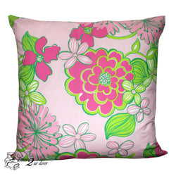 Lilly Pink and Green Flower Square Pillow Cover