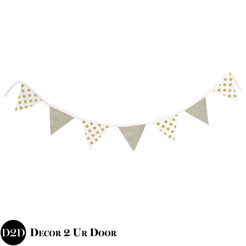 Metallic Gold Glitz & Polka Dots Wall Fabric Pennant Banner
