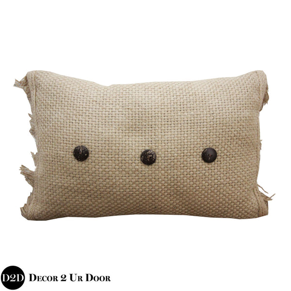 Tan Rattan & Buttons Lumbar Pillow Cover