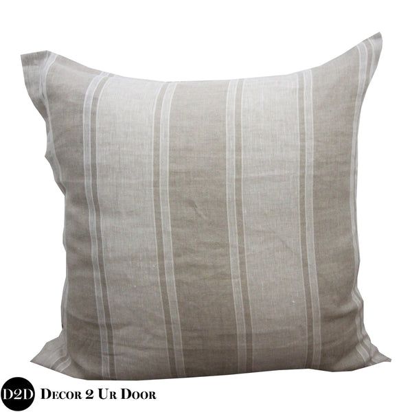 Tan Farmhouse Stripes Euro Pillow Cover