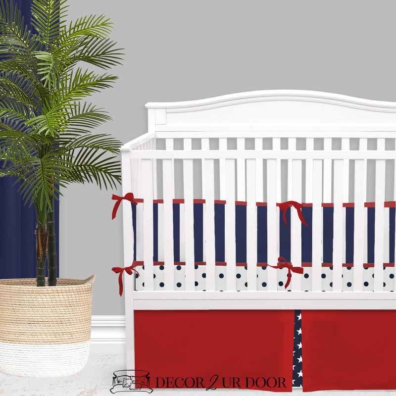Navy Blue & Red Stars & Stripes Americana Crib Bedding Set