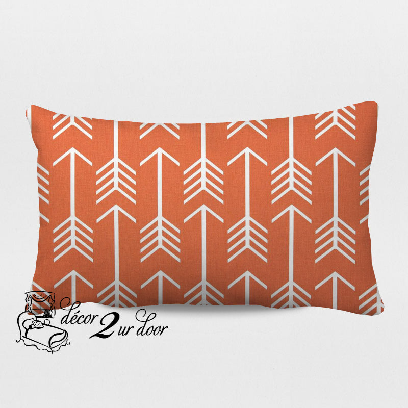 Apache Orange Arrows Designer Lumbar Pillow Cover