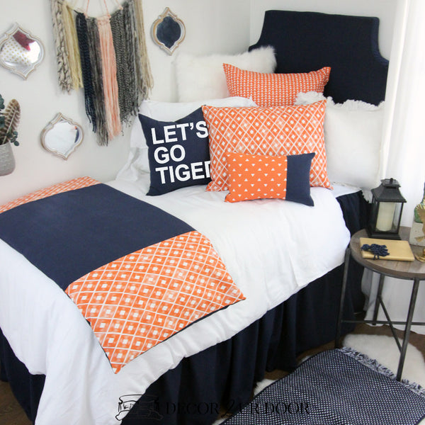 Auburn University Tigers Navy & Orange Dorm Bedding Set
