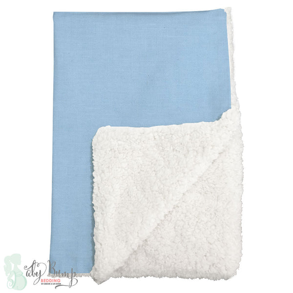 Solid Baby Blue Sherpa Baby Blanket