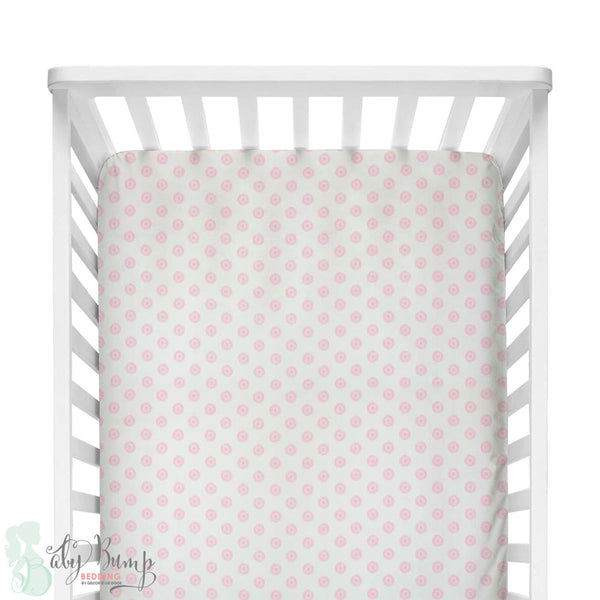 Baby Pink Chelsea Dots Fitted Crib Sheet