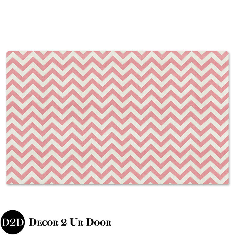 Baby Pink Chevron Standard Twin Fabric Padded Headboard