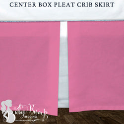 Solid Pink and White Baby Crib Skirt
