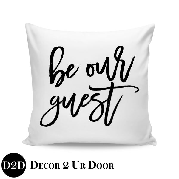 Be Our Guest Farmhouse Square Throw Pillow Cover