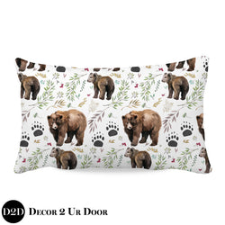 Adventure Woodland Bear Cub Lumbar Nursery Throw Pillow Cover