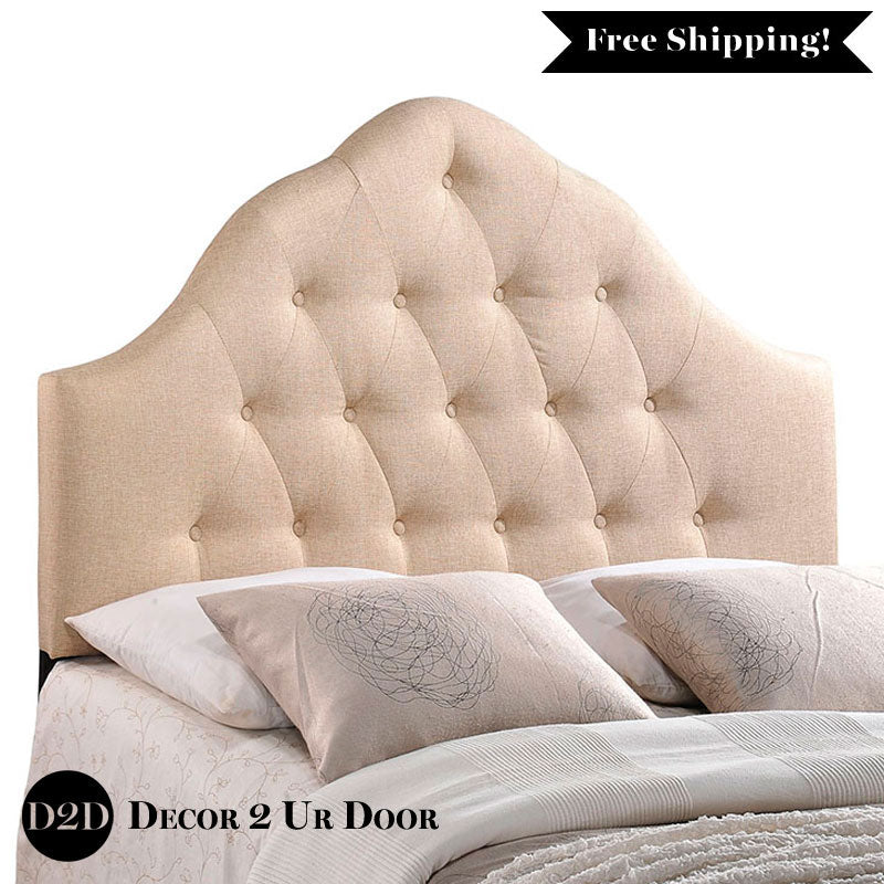 Beige Tufted Fabric Headboard